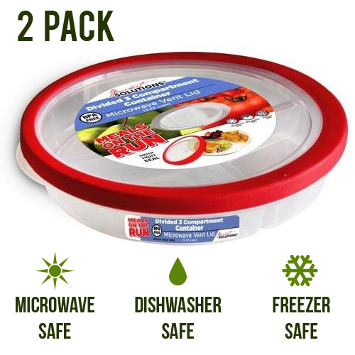2 Pack - Gourmet Solutions Divided 3 Compartment Container w/ Vent Lid
