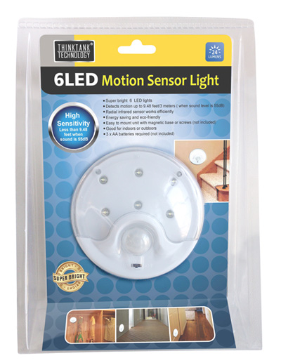 6 LED Motion Sensor Light - Great For Stairs, Bathrooms, Hallways & More!! See The Video! SHIPS FREE!