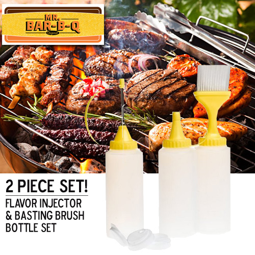 Mr. BBQ Ultimate BBQ Set - Baster & Injector w/ Bottles and Storage Caps