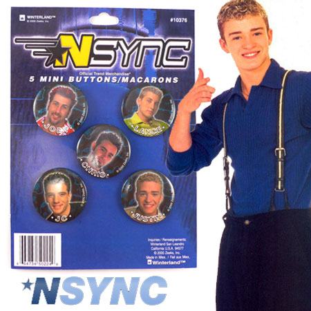 NSYNC 5 Mini Button Set - Joey, Chris, Lance, JC and Justin!