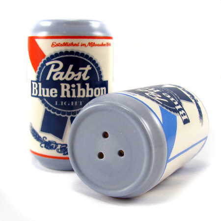 Pabst Blue Ribbon Ceramic Salt and Pepper Shakers - SHIPS FREE!
