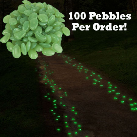 100 Glow in the Dark Garden Pebbles - Great for Walkways, Planters, & Much  More! SHIPS FREE