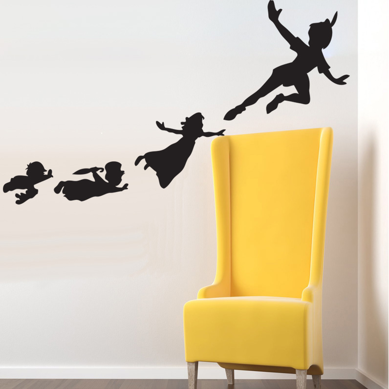 Peter Pan Flying Shadows Set of Wall Clings - SHIPS FREE!
