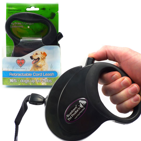 Retractable 16 Foot Cord Leash For Dog Up To 75 Pounds