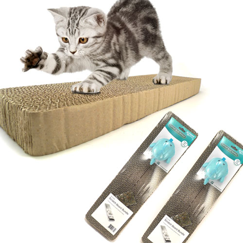Master Paws - Scratch Board 2 Pack With Cat Nip and Toy