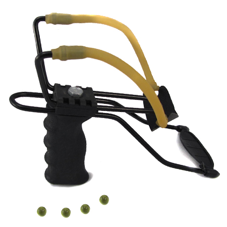 Large Adjustable Slingshot w/ Arm Brace - Includes 4 Glass Balls!