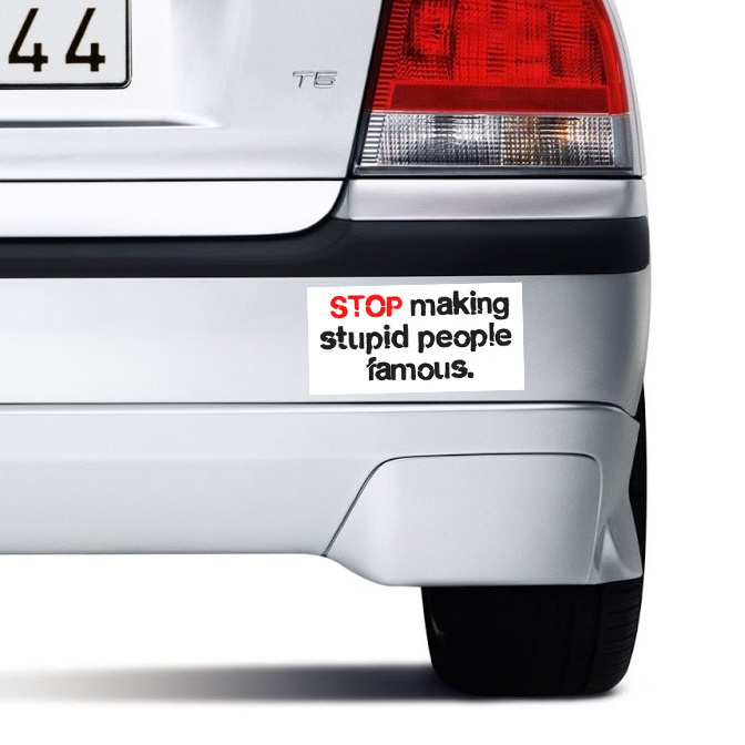 STOP Making Stupid People Famous - Bumper Sticker - SHIPS FREE!