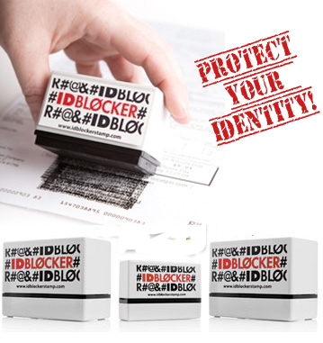 ID Blocker Self Inking 3 Piece Stamp Set - Protect Your Information!