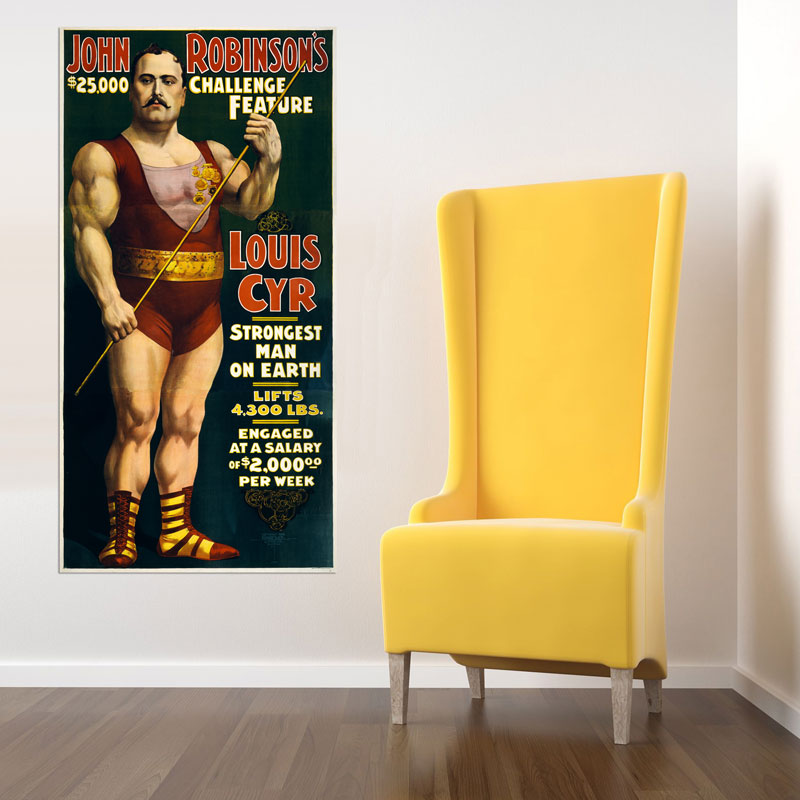 Worlds Strongest Man Vintage Circus Poster - 4 Feet Tall! - Ships Free!