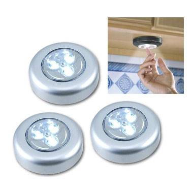 3 Pack - 3 LED Tap Light - Great for under cabinet kitchen lighting and more!