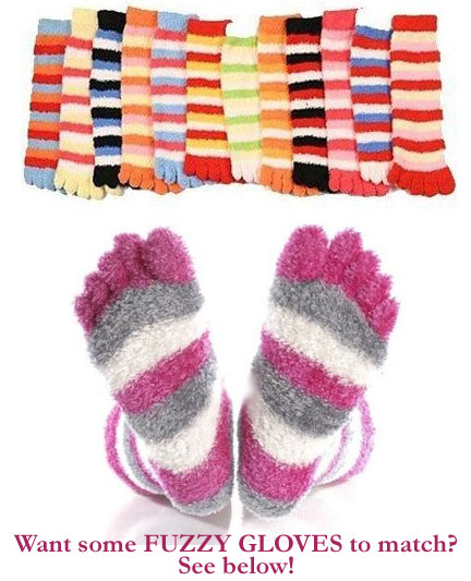 3 Pack of Super Comfy Fuzzy Toe Socks - SHIPS FREE!