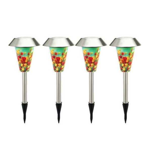 4 Piece Solar Landscape Light Set With Tulip Field Pattern by Westinghouse - SHIPS FREE
