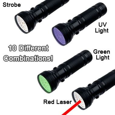 The Ultimate Flashlight! 6-in-1 30 LED - White, UV,  and Green lights! Includes laser pointer, compass & batteries!