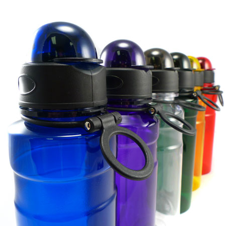 2 Pack of Domed Flip Top Sport Bottles With Carabiner Clip - SHIPS FREE!