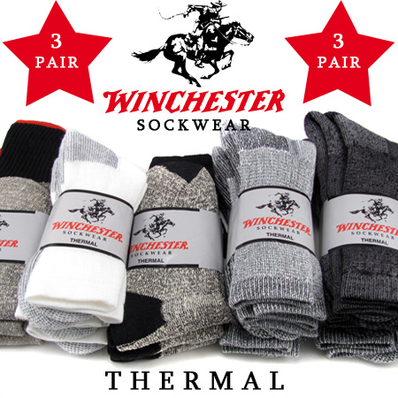 3 Pairs - Winchester Thermal Socks - UNLIMITED FREE SHIPPING - SO STOCK UP!