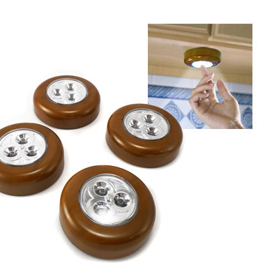 Set of 4 Wood Grain LED Tap Lights - Great for under cabinet kitchen lighting and more! SHIPS FREE!