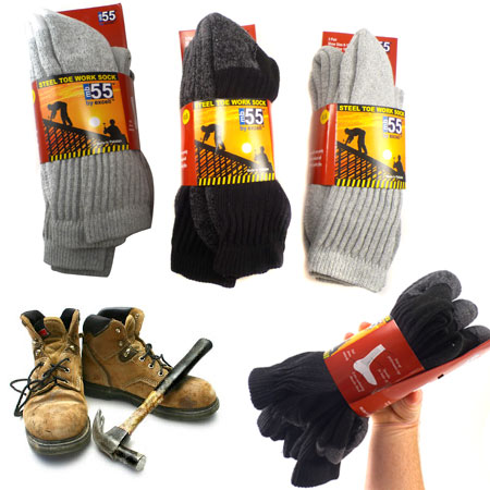 Steel Toe Boot Socks - Extra Thick and Protective! - 3 Pairs! SHIPS FREE