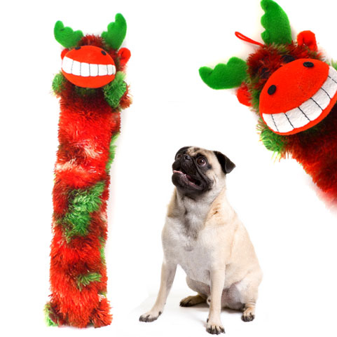 Set of 2 Christmas Reindeer 17 Inch Stick Dog Toys - SHIPS FREE