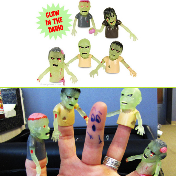 2 Pack Glow Zombie Finger Puppet - SHIPS FREE!