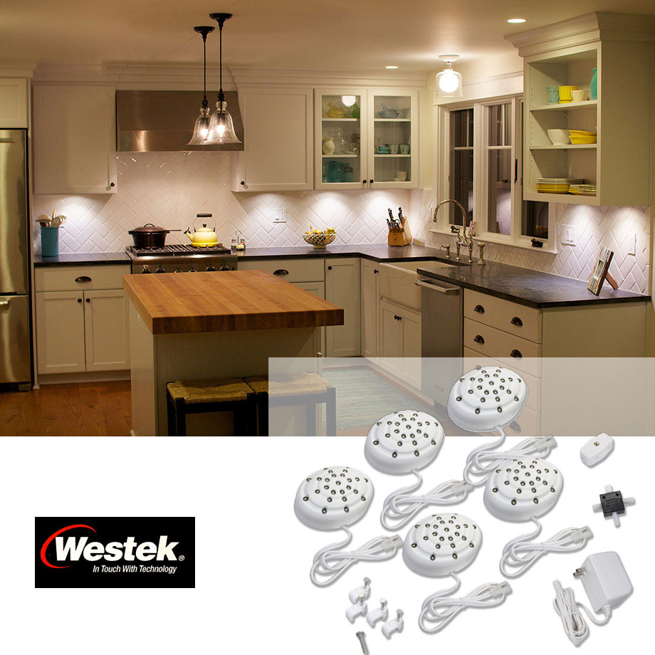 Set Of 5 LED Under Cabinet / Accent Lights In Warm White