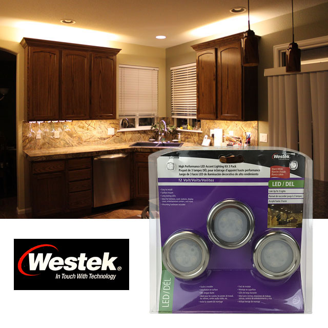 Set of 3 surface mount accent under cabinet lighting kit in warm set of 3 surface mount accent under cabinet lighting kit in warm white by westek one for 1499 or three or more for 1299 each aloadofball Images