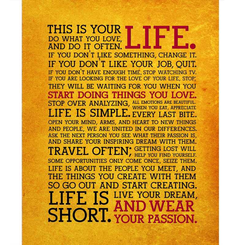This Is Your Life Available As Poster Or Canvas SHIPS FREE 60 Gorgeous This Is Your Life Quote Poster