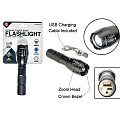 10 Watt 500 Lumen Adjustable Beam Zoom Rechargeable Flashlight