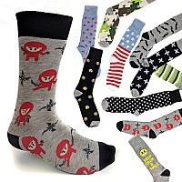10 Pairs of Funky Prints Adult Crew / Dress Socks