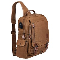 Laptop / Tablet Tech Gear Sling Canvas Bag with USB Power Port