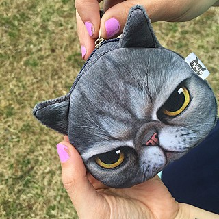 Grumpy Kitty Face Coin Purse -...