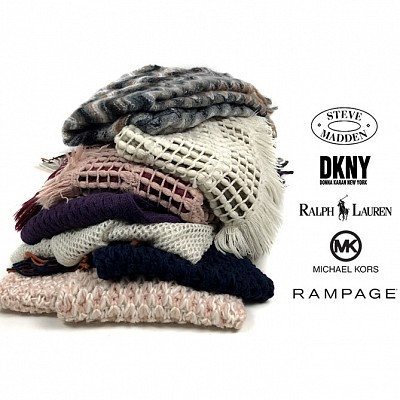 INSANE DEAL - SEE THE VIDEO - Set of 5 Designer Winter Hats or Scarves - All Brands From Macy's - Rampage, Ralph Lauren, Michael Kors, DKNY and Steve Madden - Order 3+ for just $24.90 - Just $4.99 per item! SHIPS FREE!This is a VERY unique deal! Each of these items are brand new with tags and retail from $32-$96 each! Order 3+ sets for a discount, and yes you CAN mix and match hats/scarves for the discount!