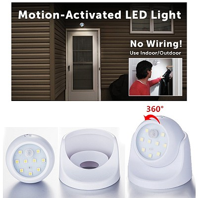 Wireless Indoor/Outdoor Motion Activated Ultra Bright SMD LED Stick Up Light With 360 Degree Rotating Head - Outdoor & Indoor Use! 1 for $10, 2 for $19 or 6+ for $7.99 each! SHIPS FREE!